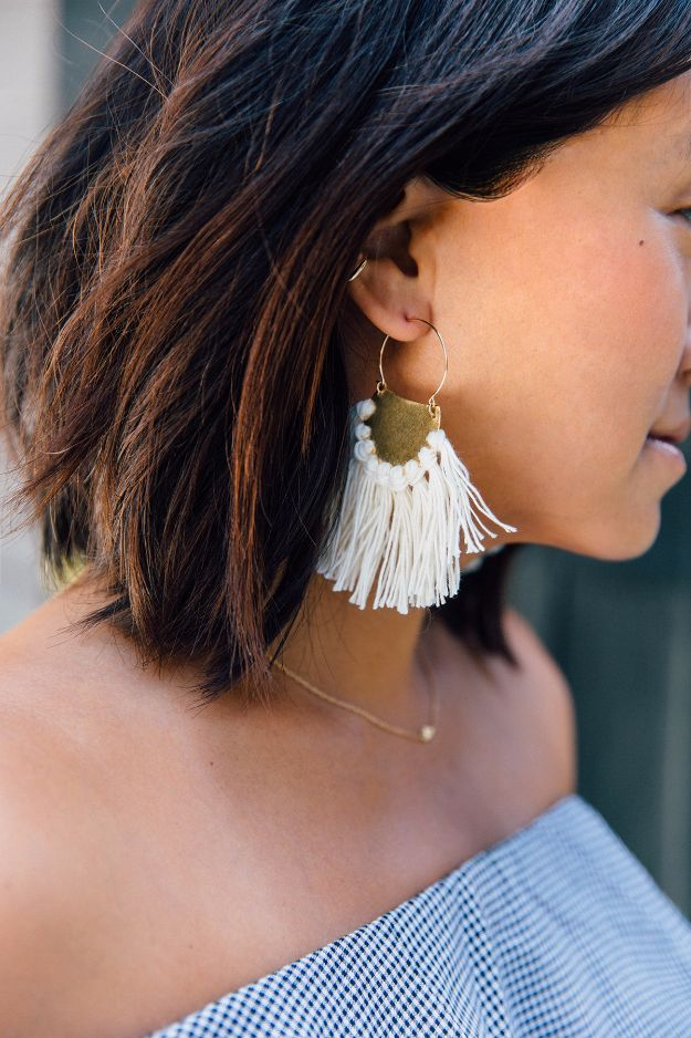 DIY Fashion for Spring - DIY Brass Fringe Earrings - Easy Homemade Clothing Tutorials and Things To Make To Wear - Cute Patterns and Projects for Women to Make, T-Shirts, Skirts, Dresses, Shorts and Ideas for Jeans and Pants - Tops, Tanks and Tees With Free Tutorial Ideas and Instructions http://diyjoy.com/fashion-for-spring