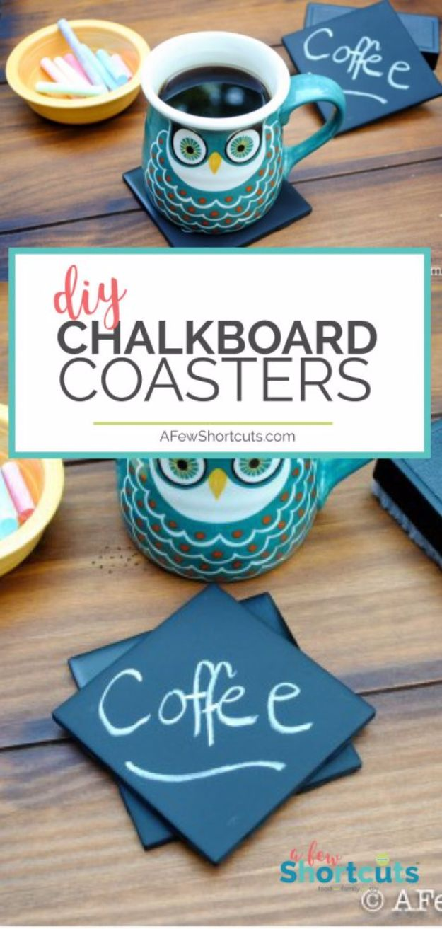DIY Ideas for The Coffee Lover - DIY Chalkboard Coasters - Easy and Cool Gift Ideas for People Who Love Coffee Drinks - Coaster, Cups and Mugs, Tumblers, Canisters and Do It Yourself Gift Ideas - Gift Jars and Baskets, Fun Presents to Make for Mom, Dad and Friends http://diyjoy.com/diy-ideas-coffee-lover
