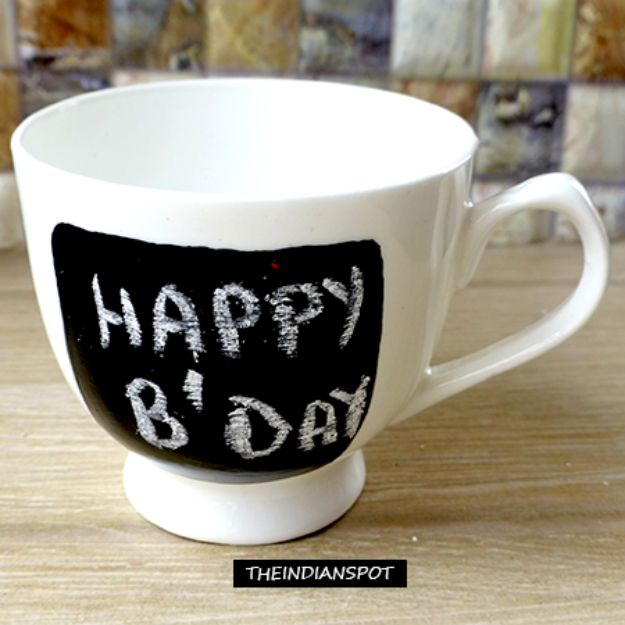 DIY Coffee Mugs - DIY Chalkboard Mugs - Easy Coffee Mug Ideas for Homemade Gifts and Crafts - Decorate Your Coffee Cups and Tumblers With These Cool Art Ideas - Glitter, Paint, Sharpie Craft, Nail Polish Water Marble and Teen Projects #diygifts #easydiy