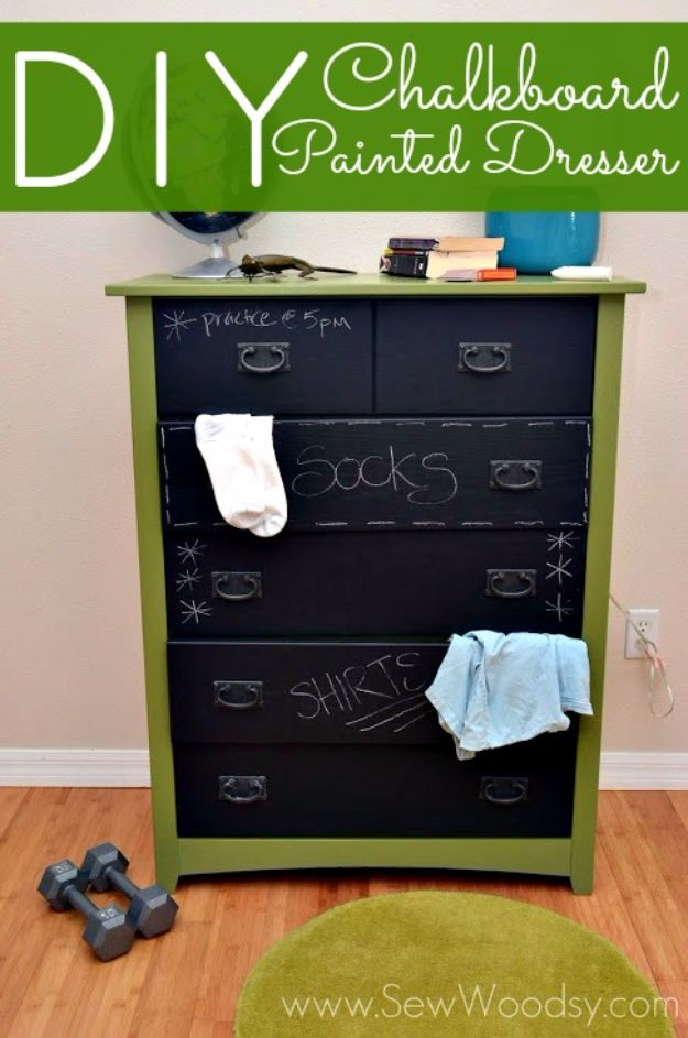 DIY Dressers - DIY Chalkboard Painted Dresser - Simple DIY Dresser Ideas - Easy Dresser Upgrades and Makeovers to Create Cool Bedroom Decor On A Budget- Do It Yourself Tutorials and Instructions for Decorating Cheap Furniture - Crafts for Women, Men and Teens http://diyjoy.com/diy-dresser-ideas