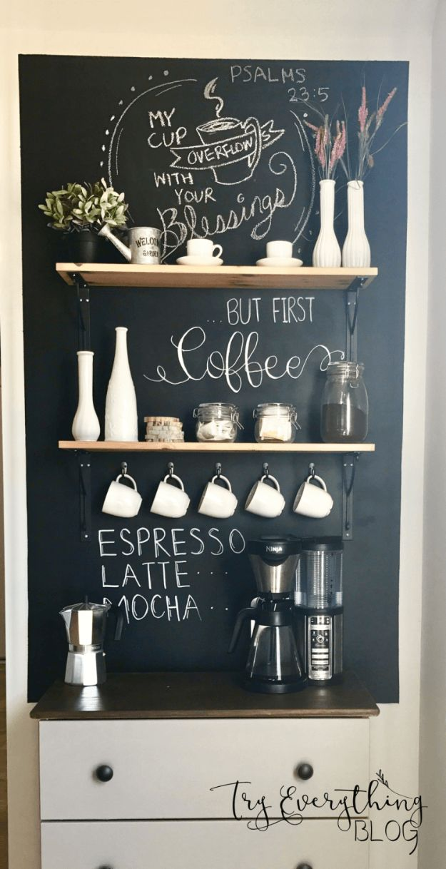 DIY Ideas for The Coffee Lover - DIY Coffee Bar - Easy and Cool Gift Ideas for People Who Love Coffee Drinks - Coaster, Cups and Mugs, Tumblers, Canisters and Do It Yourself Gift Ideas - Gift Jars and Baskets, Fun Presents to Make for Mom, Dad and Friends http://diyjoy.com/diy-ideas-coffee-lover