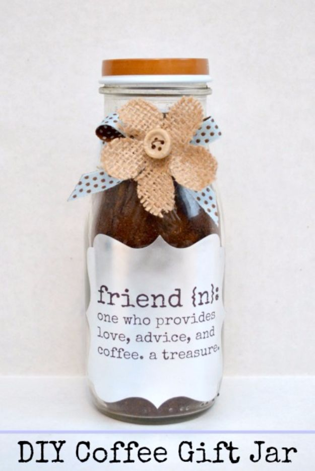 DIY Ideas for The Coffee Lover - DIY Coffee Gift Jar - Easy and Cool Gift Ideas for People Who Love Coffee Drinks - Coaster, Cups and Mugs, Tumblers, Canisters and Do It Yourself Gift Ideas - Gift Jars and Baskets, Fun Presents to Make for Mom, Dad and Friends http://diyjoy.com/diy-ideas-coffee-lover