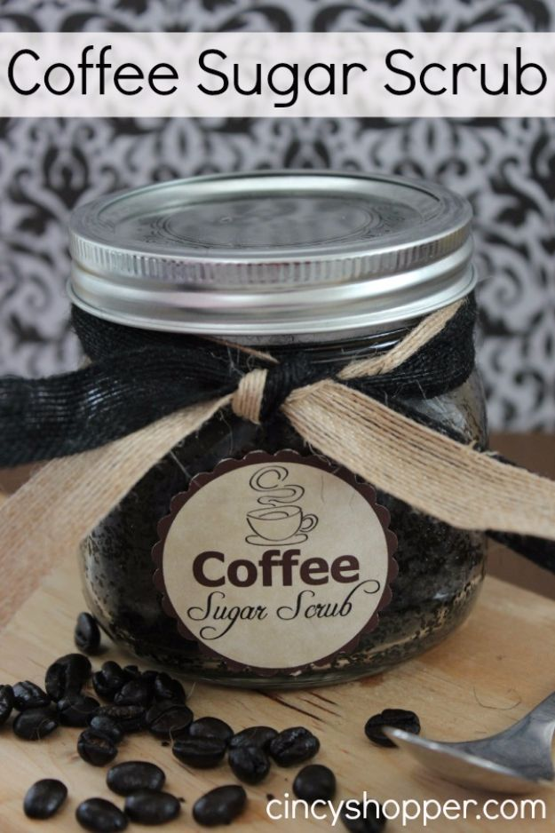 DIY Ideas for The Coffee Lover - DIY Coffee Sugar Scrub - Easy and Cool Gift Ideas for People Who Love Coffee Drinks - Coaster, Cups and Mugs, Tumblers, Canisters and Do It Yourself Gift Ideas - Gift Jars and Baskets, Fun Presents to Make for Mom, Dad and Friends http://diyjoy.com/diy-ideas-coffee-lover