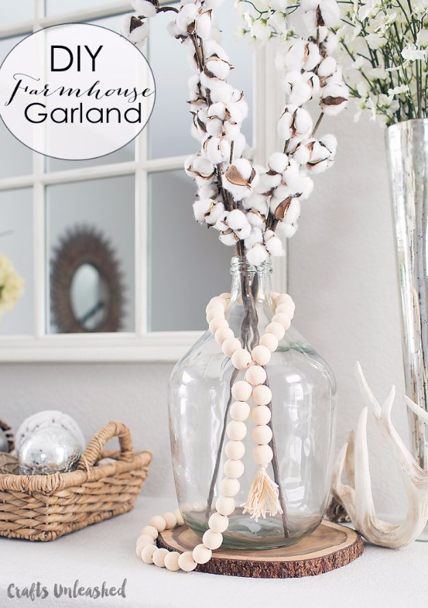 DIY Ideas With Beads - DIY Farmhouse Wood Bead Garland - Cool Crafts and Do It Yourself Ideas Made With Beads - Outdoor Windchimes, Indoor Wall Art, Cute and Easy DIY Gifts - Fun Projects for Kids, Adults and Teens - Bead Project Tutorials With Step by Step Instructions - Best Crafts To Make and Sell on Etsy