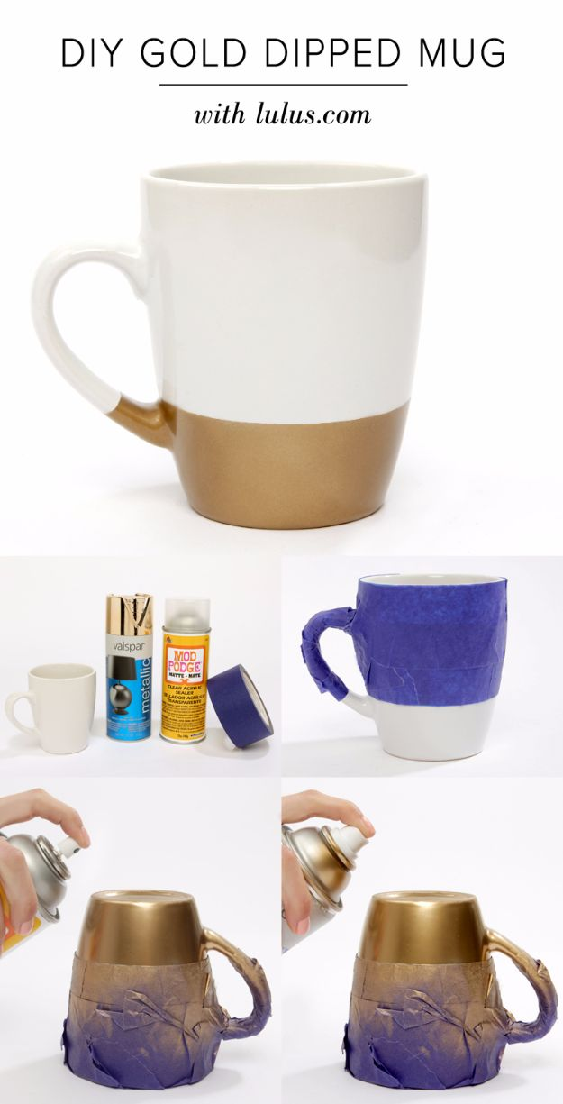 DIY Coffee Mugs - DIY Gold Dipped Mug - Easy Coffee Mug Ideas for Homemade Gifts and Crafts - Decorate Your Coffee Cups and Tumblers With These Cool Art Ideas - Glitter, Paint, Sharpie Craft, Nail Polish Water Marble and Teen Projects http://diyjoy.com/diy-coffee-mugs