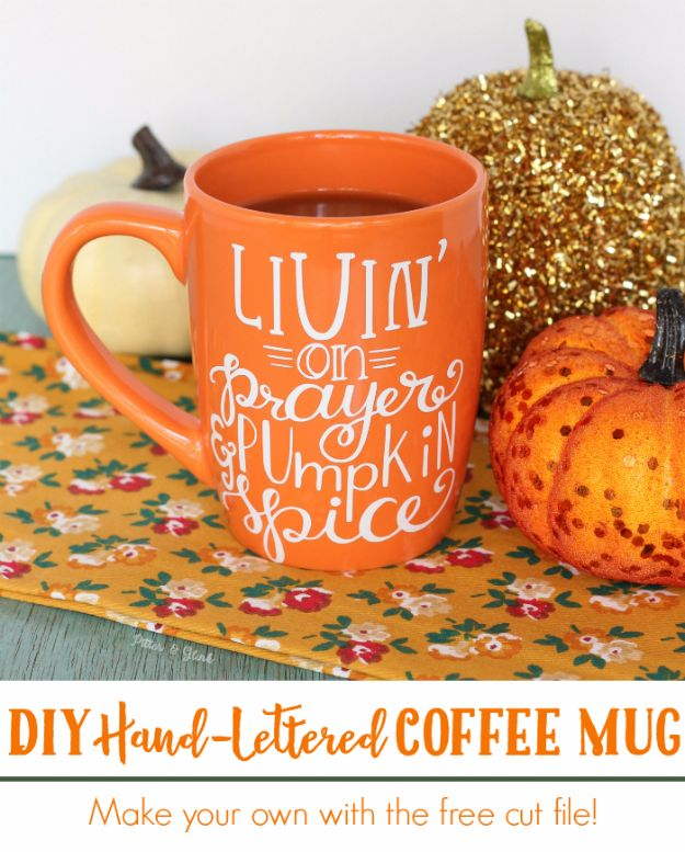 DIY Coffee Mugs - DIY Hand Lettered Coffee Mug - Easy Coffee Mug Ideas for Homemade Gifts and Crafts - Decorate Your Coffee Cups and Tumblers With These Cool Art Ideas - Glitter, Paint, Sharpie Craft, Nail Polish Water Marble and Teen Projects http://diyjoy.com/diy-coffee-mugs