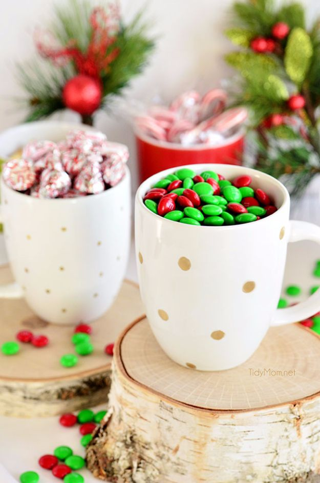 DIY Coffee Mugs - DIY Hand Painted Holiday Mugs - Easy Coffee Mug Ideas for Homemade Gifts and Crafts - Decorate Your Coffee Cups and Tumblers With These Cool Art Ideas - Glitter, Paint, Sharpie Craft, Nail Polish Water Marble and Teen Projects http://diyjoy.com/diy-coffee-mugs