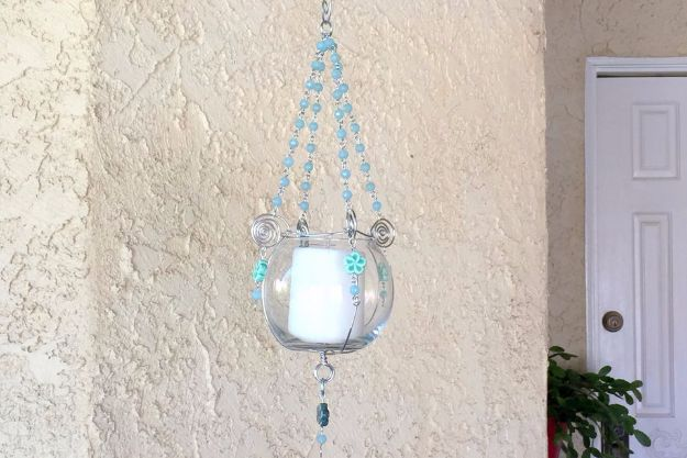 DIY Ideas With Beads - DIY Hanging Bead and Wire Plant or Candle Holder - Cool Crafts and Do It Yourself Ideas Made With Beads - Outdoor Windchimes, Indoor Wall Art, Cute and Easy DIY Gifts - Fun Projects for Kids, Adults and Teens - Bead Project Tutorials With Step by Step Instructions - Best Crafts To Make and Sell on Etsy