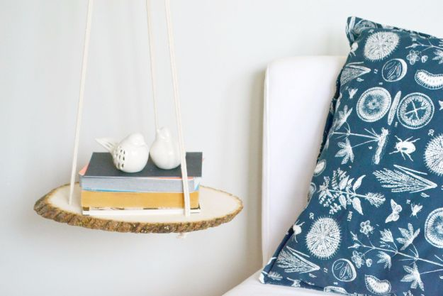 DIY Nightstands for the Bedroom - DIY Hanging Bedside Wood Shelf - Easy Do It Yourself Bedside Tables and Furniture Project Ideas - Thrift Store Makeovers For Your Room and Bed Side Night Stand - Storage for Books and Remotes, Cute Shabby Chic and Vintage Decor - Step by Step Tutorials and Instructions http://diyjoy.com/diy-nightstands-bedroom