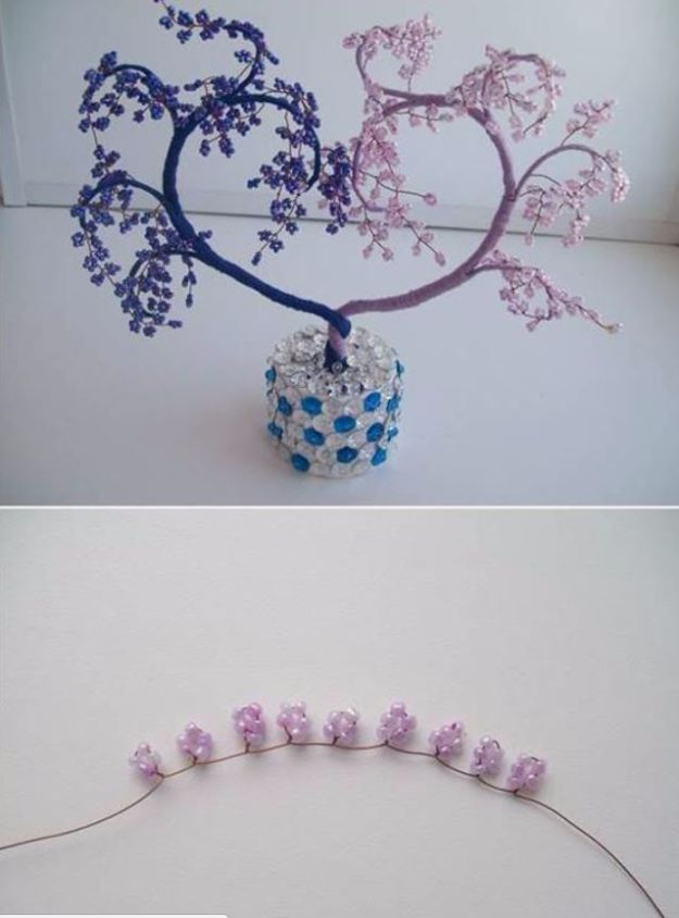 DIY Ideas With Beads - DIY Heart Shaped Beaded Decorative Tree - Cool Crafts and Do It Yourself Ideas Made With Beads - Outdoor Windchimes, Indoor Wall Art, Cute and Easy DIY Gifts - Fun Projects for Kids, Adults and Teens - Bead Project Tutorials With Step by Step Instructions - Best Crafts To Make and Sell on Etsy