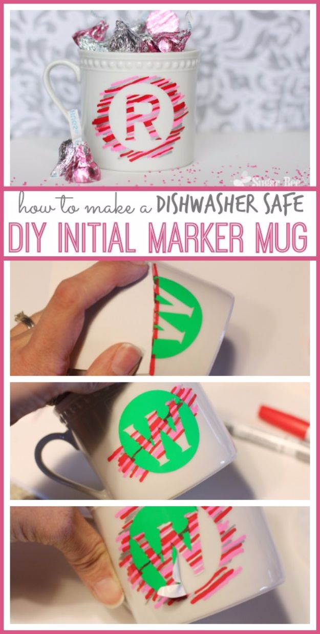 DIY Coffee Mugs - DIY Initial Marker Mug - Easy Coffee Mug Ideas for Homemade Gifts and Crafts - Decorate Your Coffee Cups and Tumblers With These Cool Art Ideas - Glitter, Paint, Sharpie Craft, Nail Polish Water Marble and Teen Projects http://diyjoy.com/diy-coffee-mugs