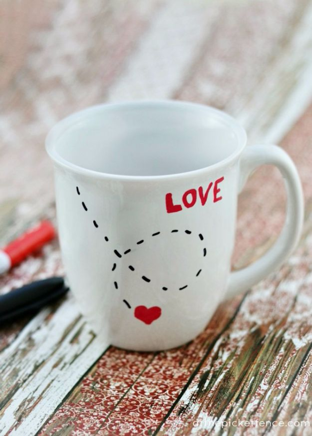 DIY Coffee Mugs - DIY Love Mug - Easy Coffee Mug Ideas for Homemade Gifts and Crafts - Decorate Your Coffee Cups and Tumblers With These Cool Art Ideas - Glitter, Paint, Sharpie Craft, Nail Polish Water Marble and Teen Projects http://diyjoy.com/diy-coffee-mugs
