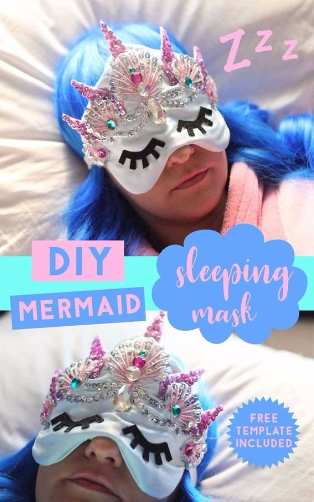 DIY Sleep Masks - DIY Mermaid Crown Sleeping Mask - Cute and Easy Ideas for Making a Homemade Sleep Mask - Best DIY Gift Ideas for Her - Cool Crafts To Make and Sell On Etsy - Creative Presents for Girls, Women and Teens - Do It Yourself Sleeping With Words, Accents and Fun Accessories for Relaxing   #diy #diygifts