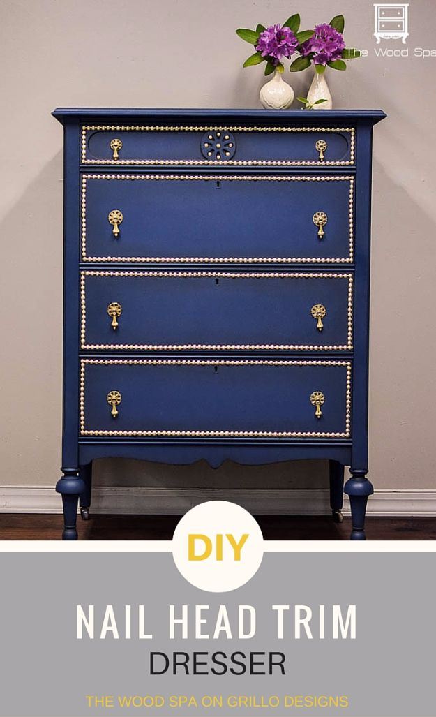 DIY Dressers - DIY Nail Head Trim Dresser - Simple DIY Dresser Ideas - Easy Dresser Upgrades and Makeovers to Create Cool Bedroom Decor On A Budget- Do It Yourself Tutorials and Instructions for Decorating Cheap Furniture - Crafts for Women, Men and Teens http://diyjoy.com/diy-dresser-ideas