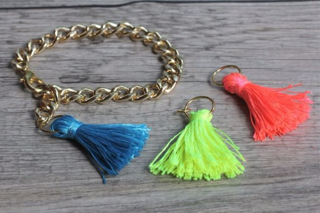 DIY Fashion for Spring - DIY Neon Tassel Bracelet - Easy Homemade Clothing Tutorials and Things To Make To Wear - Cute Patterns and Projects for Women to Make, T-Shirts, Skirts, Dresses, Shorts and Ideas for Jeans and Pants - Tops, Tanks and Tees With Free Tutorial Ideas and Instructions http://diyjoy.com/fashion-for-spring