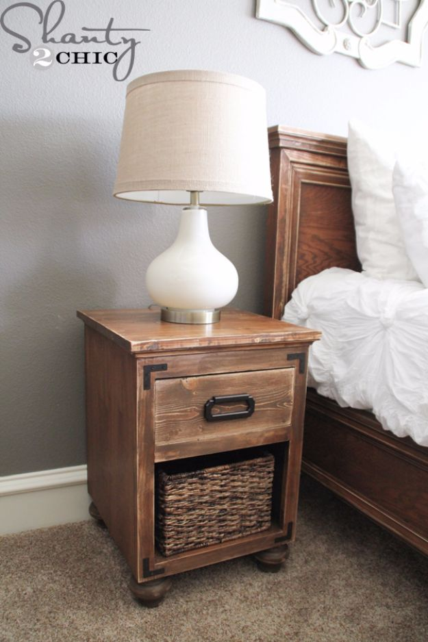 DIY Nightstands for the Bedroom - DIY Nightstand with Bun Feet - Easy Do It Yourself Bedside Tables and Furniture Project Ideas - Thrift Store Makeovers For Your Room and Bed Side Night Stand - Storage for Books and Remotes, Cute Shabby Chic and Vintage Decor - Step by Step Tutorials and Instructions http://diyjoy.com/diy-nightstands-bedroom