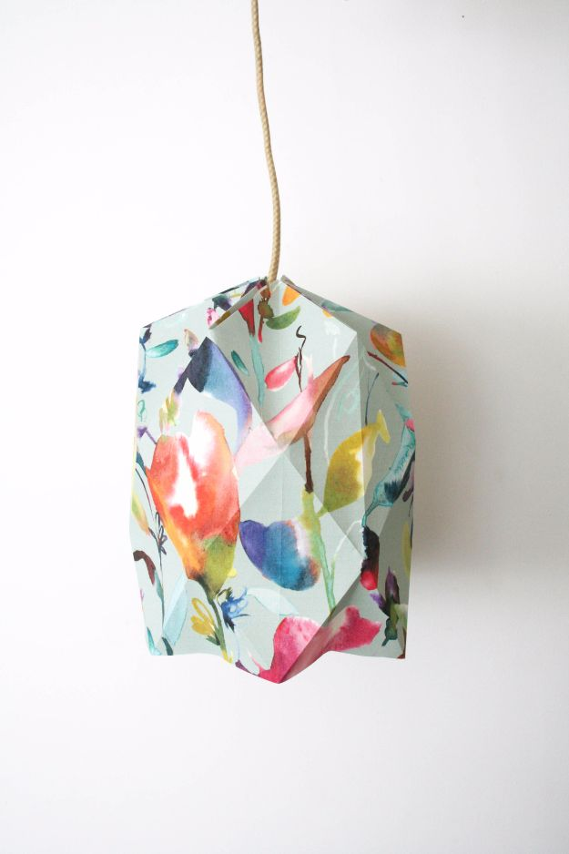 DIY Ideas for Wallpaper Scraps - DIY Origami Lampshade - Cute Projects and Easy DIY Gift Ideas to Make With Leftover Wall Paper - Fun Home Decor, Homemade Wall Art Idea Tutorials, Creative Ways to Use Old Wallpapers - Cool Crafts for Men, Women and Teens http://diyjoy.com/diy-ideas-wallpaper-scraps
