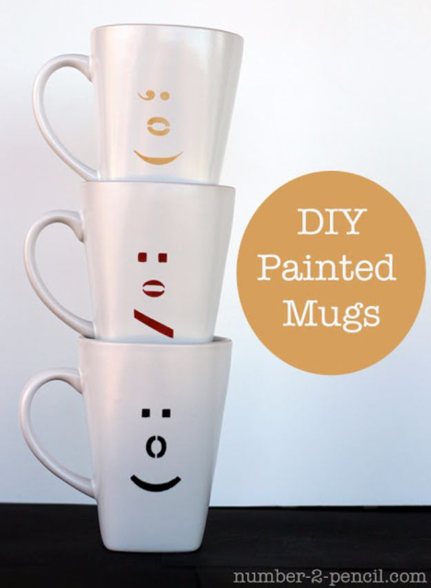 DIY Coffee Mugs - DIY Painted Ceramic Mugs with Martha Stewart Glass Paint and Stencils - Easy Coffee Mug Ideas for Homemade Gifts and Crafts - Decorate Your Coffee Cups and Tumblers With These Cool Art Ideas - Glitter, Paint, Sharpie Craft, Nail Polish Water Marble and Teen Projects http://diyjoy.com/diy-coffee-mugs