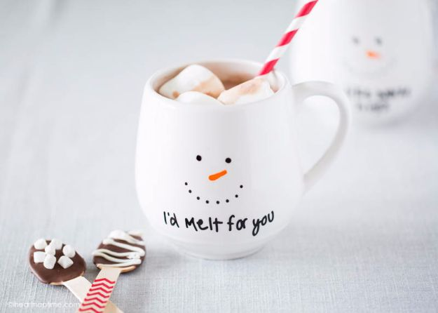 DIY Coffee Mugs - DIY Painted Coffee Mug Gift Idea - Easy Coffee Mug Ideas for Homemade Gifts and Crafts - Decorate Your Coffee Cups and Tumblers With These Cool Art Ideas - Glitter, Paint, Sharpie Craft, Nail Polish Water Marble and Teen Projects http://diyjoy.com/diy-coffee-mugs