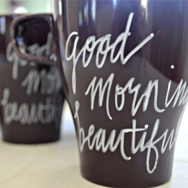 DIY Coffee Mugs - DIY Painted Mugs That Won't Wash Away - Easy Coffee Mug Ideas for Homemade Gifts and Crafts - Decorate Your Coffee Cups and Tumblers With These Cool Art Ideas - Glitter, Paint, Sharpie Craft, Nail Polish Water Marble and Teen Projects http://diyjoy.com/diy-coffee-mugs