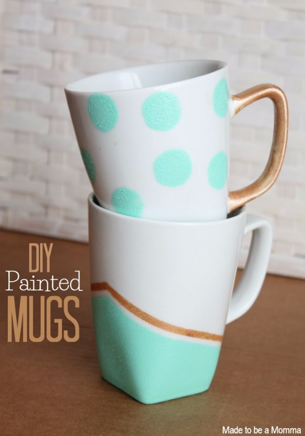 Painted DIY Coffee Mugs - DIY Painted Mugs - Easy Coffee Mug Ideas for Homemade Gifts and Crafts - Decorate Your Coffee Cups and Tumblers With These Cool Art Ideas - Glitter, Paint, Sharpie Craft, Nail Polish Water Marble and Teen Projects #diygifts #easydiy