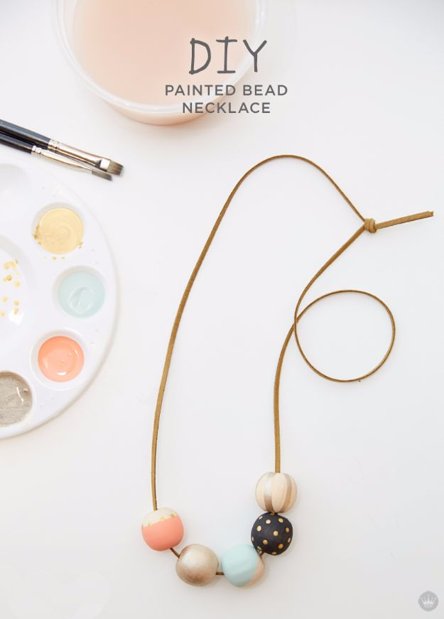DIY Fashion for Spring - DIY Painted Wood Bead Necklace - Easy Homemade Clothing Tutorials and Things To Make To Wear - Cute Patterns and Projects for Women to Make, T-Shirts, Skirts, Dresses, Shorts and Ideas for Jeans and Pants - Tops, Tanks and Tees With Free Tutorial Ideas and Instructions http://diyjoy.com/fashion-for-spring