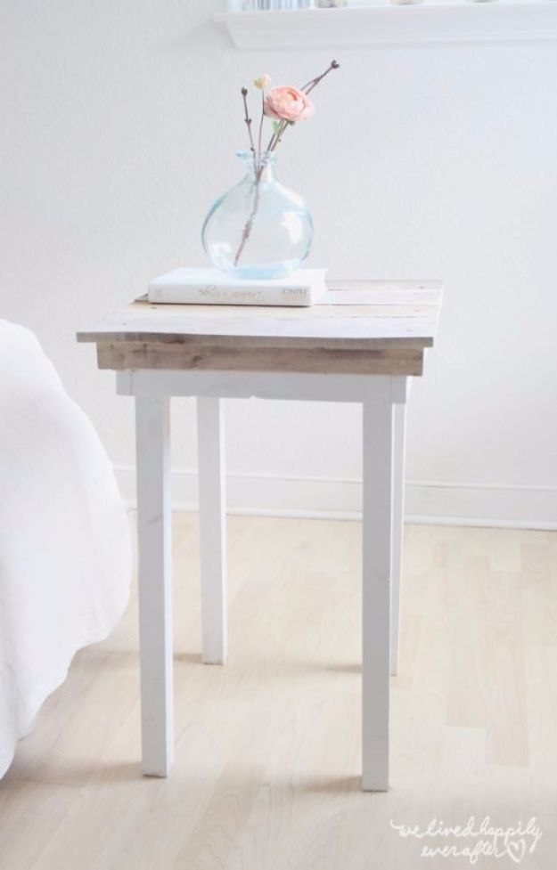 DIY Nightstands for the Bedroom - DIY Pallet Scraps Nightstand - Easy Do It Yourself Bedside Tables and Furniture Project Ideas - Thrift Store Makeovers For Your Room and Bed Side Night Stand - Storage for Books and Remotes, Cute Shabby Chic and Vintage Decor - Step by Step Tutorials and Instructions http://diyjoy.com/diy-nightstands-bedroom