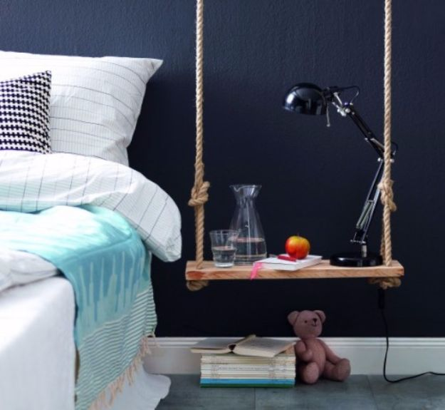 DIY Nightstands for the Bedroom - DIY Pendant Bedside Table Of Wood - Easy Do It Yourself Bedside Tables and Furniture Project Ideas - Thrift Store Makeovers For Your Room and Bed Side Night Stand - Storage for Books and Remotes, Cute Shabby Chic and Vintage Decor - Step by Step Tutorials and Instructions http://diyjoy.com/diy-nightstands-bedroom