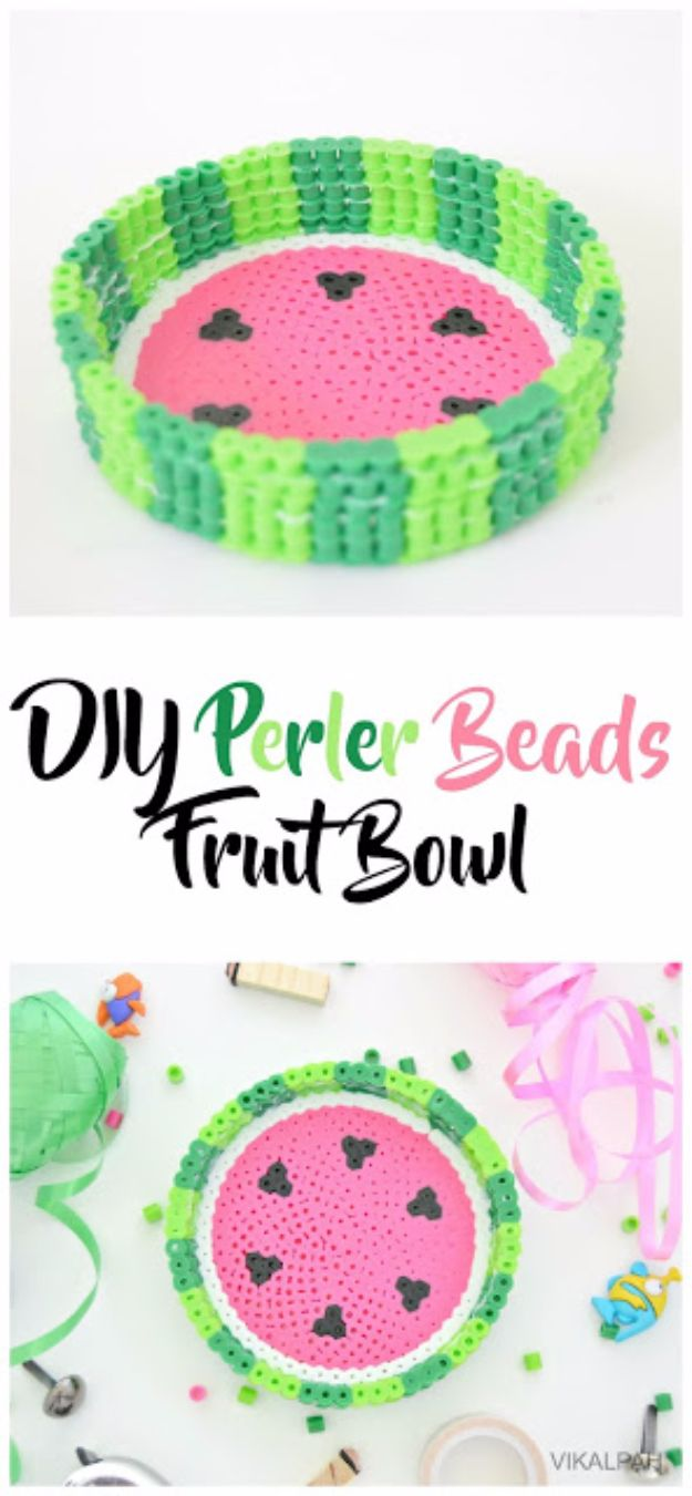 DIY Ideas With Beads - DIY Perler Beads Fruit Bowl - Cool Crafts and Do It Yourself Ideas Made With Beads - Outdoor Windchimes, Indoor Wall Art, Cute and Easy DIY Gifts - Fun Projects for Kids, Adults and Teens - Bead Project Tutorials With Step by Step Instructions - Best Crafts To Make and Sell on Etsy