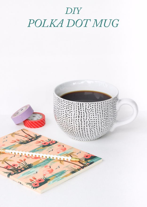 DIY Coffee Mugs - DIY Polka Dot Mug - Easy Coffee Mug Ideas for Homemade Gifts and Crafts - Decorate Your Coffee Cups and Tumblers With These Cool Art Ideas - Glitter, Paint, Sharpie Craft, Nail Polish Water Marble and Teen Projects http://diyjoy.com/diy-coffee-mugs