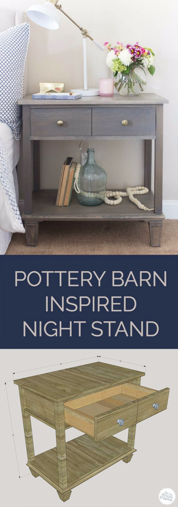 DIY Nightstands for the Bedroom - DIY Pottery Barn Inspired Nightstand - Easy Do It Yourself Bedside Tables and Furniture Project Ideas - Thrift Store Makeovers For Your Room and Bed Side Night Stand - Storage for Books and Remotes, Cute Shabby Chic and Vintage Decor - Step by Step Tutorials and Instructions http://diyjoy.com/diy-nightstands-bedroom