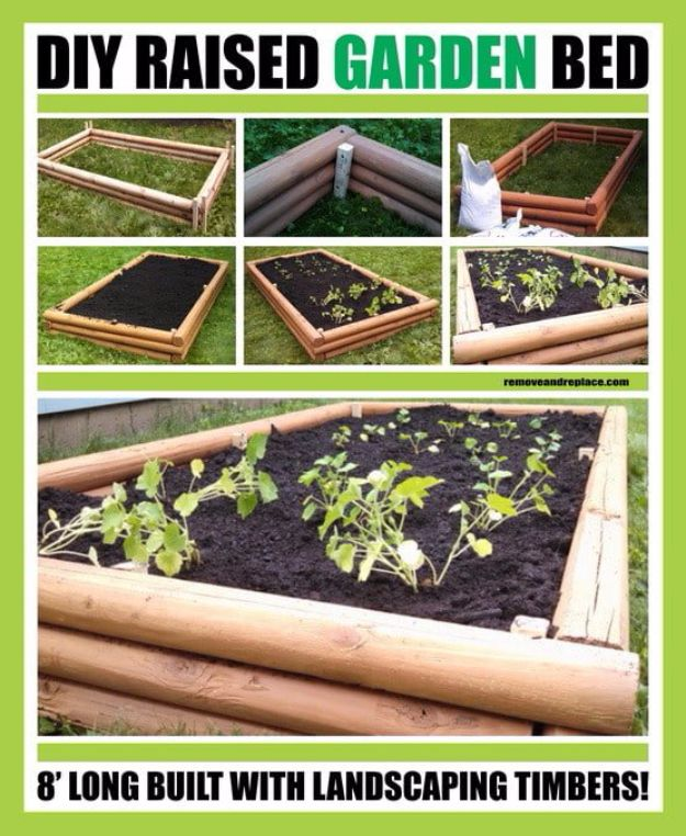 DIY Garden Beds - DIY Raised Garden Bed With Landscaping Timbers - Easy Gardening Ideas for Raised Beds and Planter Boxes - Free Plans, Tutorials and Step by Step Tutorials for Building and Landscaping Projects - Update Your Backyard and Gardens With These Cheap Do It Yourself Ideas http://diyjoy.com/diy-garden-beds