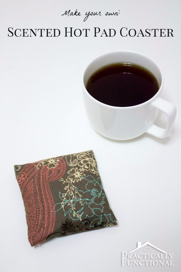 DIY Ideas for The Coffee Lover - DIY Scented Hot Pad Coaster - Easy and Cool Gift Ideas for People Who Love Coffee Drinks - Coaster, Cups and Mugs, Tumblers, Canisters and Do It Yourself Gift Ideas - Gift Jars and Baskets, Fun Presents to Make for Mom, Dad and Friends http://diyjoy.com/diy-ideas-coffee-lover