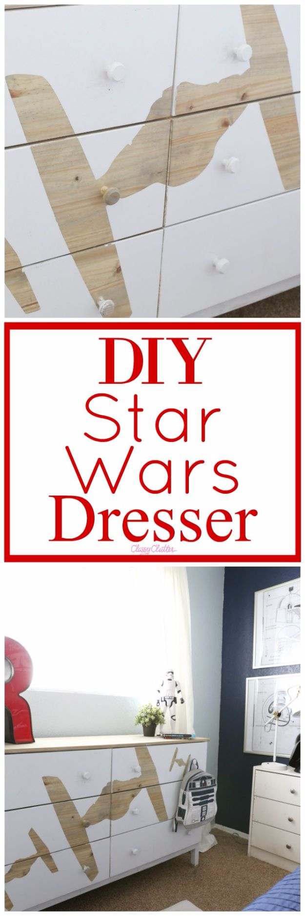 DIY Dressers - DIY Star Wars Dresser - Simple DIY Dresser Ideas - Easy Dresser Upgrades and Makeovers to Create Cool Bedroom Decor On A Budget- Do It Yourself Tutorials and Instructions for Decorating Cheap Furniture - Crafts for Women, Men and Teens http://diyjoy.com/diy-dresser-ideas