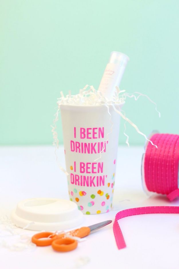 DIY Coffee Mugs - DIY Stenciled Coffee Mug - Easy Coffee Mug Ideas for Homemade Gifts and Crafts - Decorate Your Coffee Cups and Tumblers With These Cool Art Ideas - Glitter, Paint, Sharpie Craft, Nail Polish Water Marble and Teen Projects http://diyjoy.com/diy-coffee-mugs