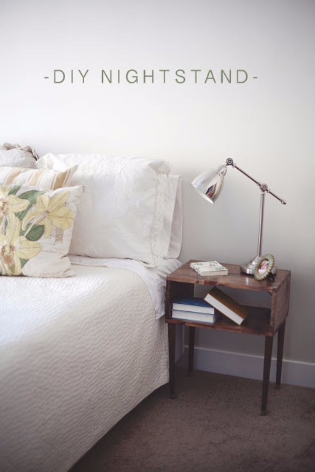 DIY Nightstands for the Bedroom - DIY Stylish Nightstand - Easy Do It Yourself Bedside Tables and Furniture Project Ideas - Thrift Store Makeovers For Your Room and Bed Side Night Stand - Storage for Books and Remotes, Cute Shabby Chic and Vintage Decor - Step by Step Tutorials and Instructions http://diyjoy.com/diy-nightstands-bedroom