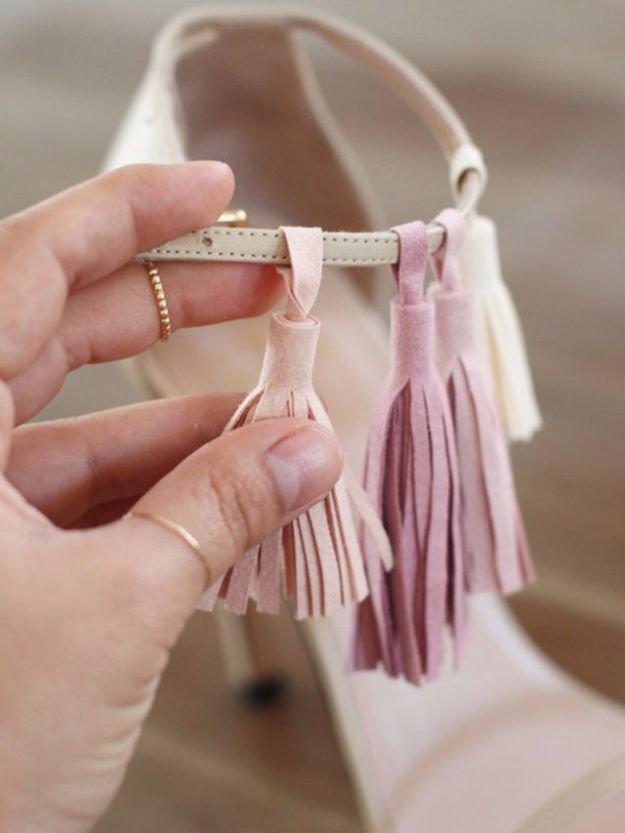 DIY Fashion for Spring - DIY Tassel Heels - Easy Homemade Clothing Tutorials and Things To Make To Wear - Cute Patterns and Projects for Women to Make, T-Shirts, Skirts, Dresses, Shorts and Ideas for Jeans and Pants - Tops, Tanks and Tees With Free Tutorial Ideas and Instructions http://diyjoy.com/fashion-for-spring