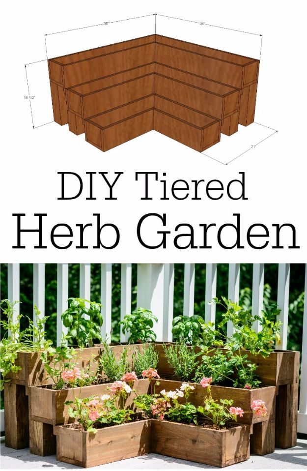 DIY Garden Beds - DIY Tiered Herb Garden - Easy Gardening Ideas for Raised Beds and Planter Boxes - Free Plans, Tutorials and Step by Step Tutorials for Building and Landscaping Projects - Update Your Backyard and Gardens With These Cheap Do It Yourself Ideas http://diyjoy.com/diy-garden-beds