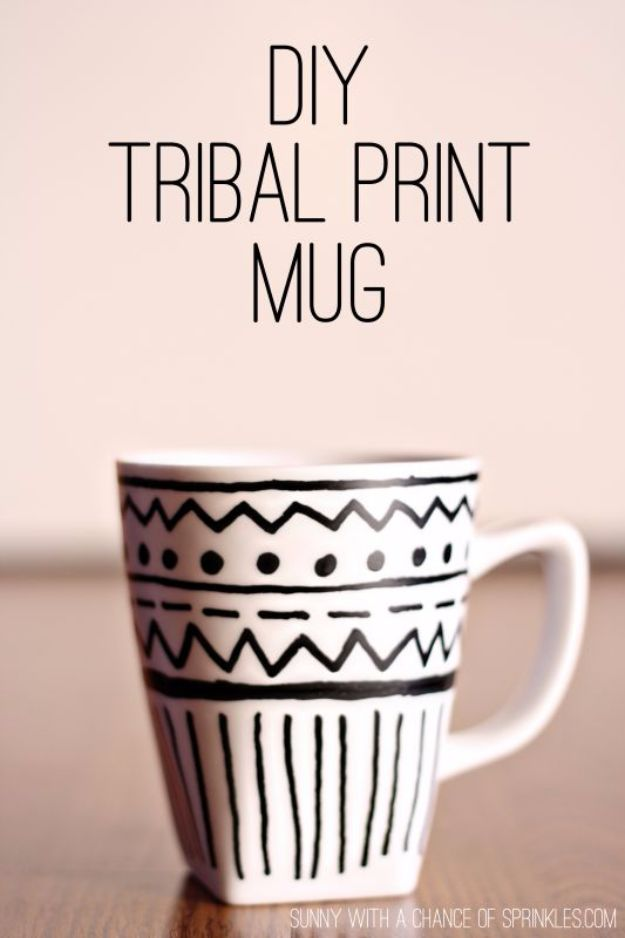 DIY Coffee Mugs - DIY Tribal Print Mug - Easy Coffee Mug Ideas for Homemade Gifts and Crafts - Decorate Your Coffee Cups and Tumblers With These Cool Art Ideas - Glitter, Paint, Sharpie Craft, Nail Polish Water Marble and Teen Projects http://diyjoy.com/diy-coffee-mugs