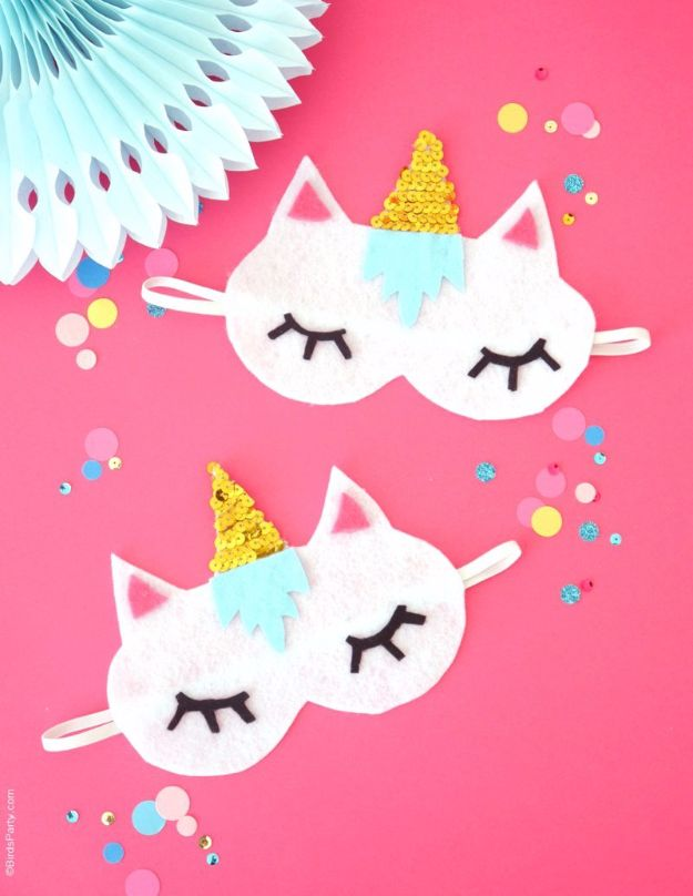 DIY Sleep Masks - DIY Unicorn Sleeping Masks - Cute and Easy Ideas for Making a Homemade Sleep Mask - Best DIY Gift Ideas for Her - Cool Crafts To Make and Sell On Etsy - Creative Presents for Girls, Women and Teens - Do It Yourself Sleeping With Words, Accents and Fun Accessories for Relaxing   #diy #diygifts