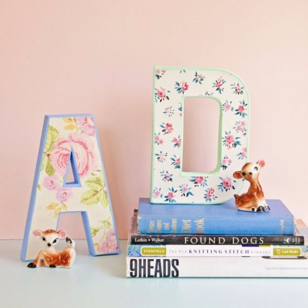 DIY Ideas for Wallpaper Scraps - DIY Vintage Wallpaper Letters - Cute Projects and Easy DIY Gift Ideas to Make With Leftover Wall Paper - Fun Home Decor, Homemade Wall Art Idea Tutorials, Creative Ways to Use Old Wallpapers - Cool Crafts for Men, Women and Teens http://diyjoy.com/diy-ideas-wallpaper-scraps