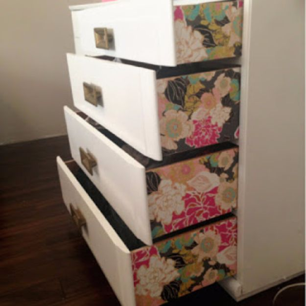 DIY Ideas for Wallpaper Scraps - DIY Wallpaper Dresser - Cute Projects and Easy DIY Gift Ideas to Make With Leftover Wall Paper - Fun Home Decor, Homemade Wall Art Idea Tutorials, Creative Ways to Use Old Wallpapers - Cool Crafts for Men, Women and Teens http://diyjoy.com/diy-ideas-wallpaper-scraps
