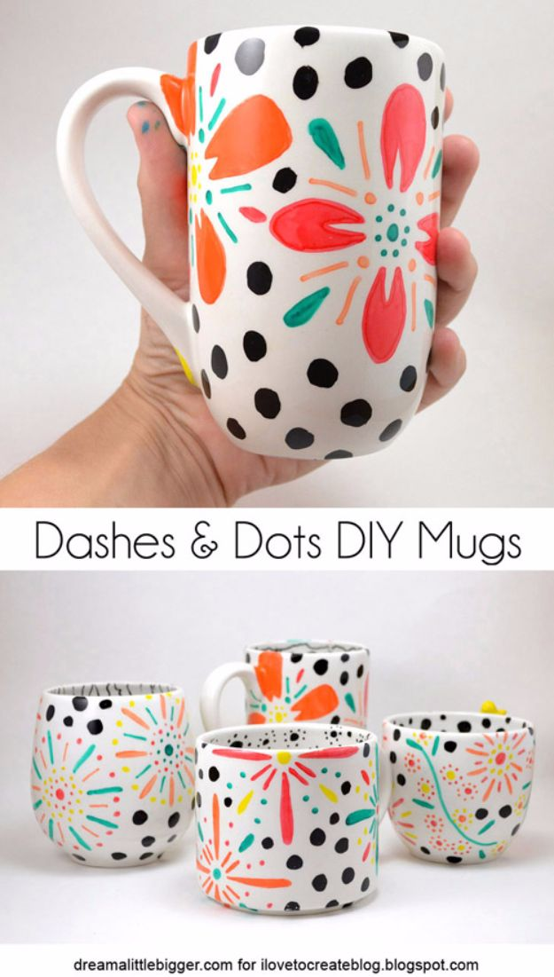DIY Coffee Mugs - Dashes and Dots DIY Floral Mugs - Easy Coffee Mug Ideas for Homemade Gifts and Crafts - Decorate Your Coffee Cups and Tumblers With These Cool Art Ideas - Glitter, Paint, Sharpie Craft, Nail Polish Water Marble and Teen Projects http://diyjoy.com/diy-coffee-mugs