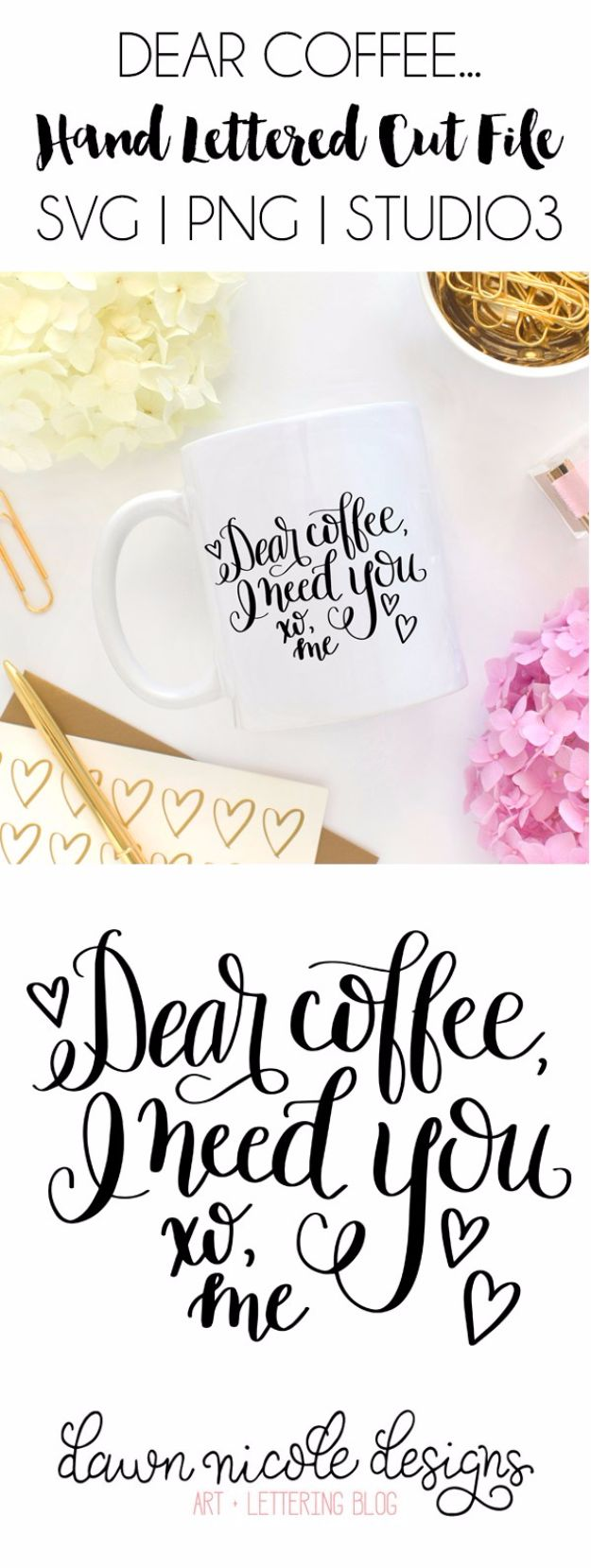 DIY Coffee Mugs - Dear Coffee Hand Lettered Free SVG Cut File - Easy Coffee Mug Ideas for Homemade Gifts and Crafts - Decorate Your Coffee Cups and Tumblers With These Cool Art Ideas - Glitter, Paint, Sharpie Craft, Nail Polish Water Marble and Teen Projects http://diyjoy.com/diy-coffee-mugs