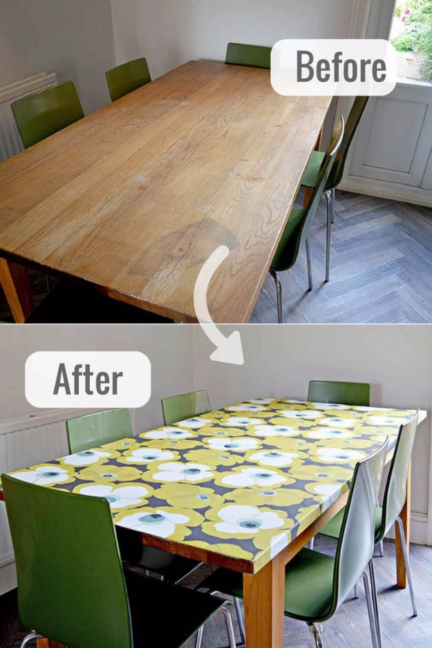 DIY Ideas for Wallpaper Scraps - Decoupage Furniture With Wallpaper - Cute Projects and Easy DIY Gift Ideas to Make With Leftover Wall Paper - Fun Home Decor, Homemade Wall Art Idea Tutorials, Creative Ways to Use Old Wallpapers - Cool Crafts for Men, Women and Teens http://diyjoy.com/diy-ideas-wallpaper-scraps