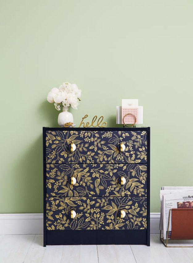 DIY Ideas for Wallpaper Scraps - Dresser Hack - Cute Projects and Easy DIY Gift Ideas to Make With Leftover Wall Paper - Fun Home Decor, Homemade Wall Art Idea Tutorials, Creative Ways to Use Old Wallpapers - Cool Crafts for Men, Women and Teens http://diyjoy.com/diy-ideas-wallpaper-scraps