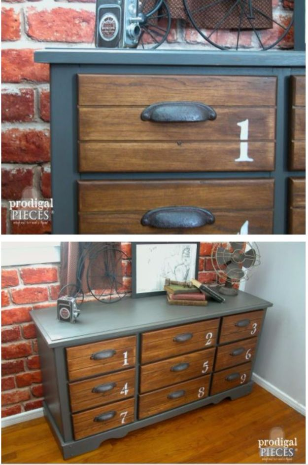 DIY Dressers - Dresser With Vintage Look - Simple DIY Dresser Ideas - Easy Dresser Upgrades and Makeovers to Create Cool Bedroom Decor On A Budget- Do It Yourself Tutorials and Instructions for Decorating Cheap Furniture - Crafts for Women, Men and Teens http://diyjoy.com/diy-dresser-ideas