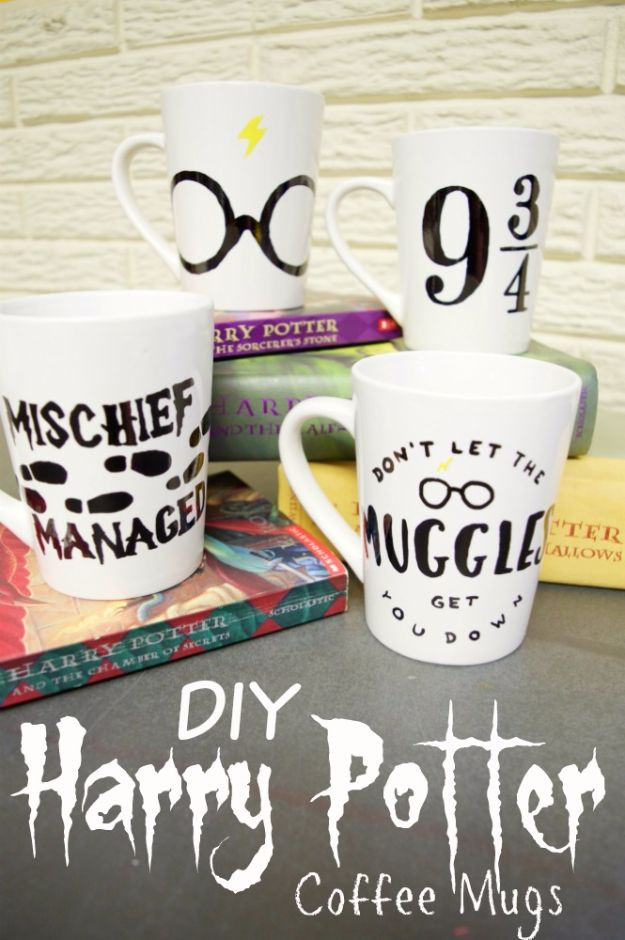 DIY Coffee Mugs - Easy DIY Harry Potter Coffee Mugs - Easy Coffee Mug Ideas for Homemade Gifts and Crafts - Decorate Your Coffee Cups and Tumblers With These Cool Art Ideas - Glitter, Paint, Sharpie Craft, Nail Polish Water Marble and Teen Projects http://diyjoy.com/diy-coffee-mugs