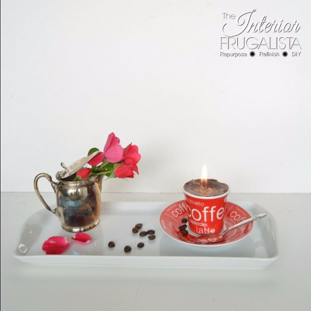 DIY Ideas for The Coffee Lover - Easy Handmade Demitasse Espresso Candle - Easy and Cool Gift Ideas for People Who Love Coffee Drinks - Coaster, Cups and Mugs, Tumblers, Canisters and Do It Yourself Gift Ideas - Gift Jars and Baskets, Fun Presents to Make for Mom, Dad and Friends http://diyjoy.com/diy-ideas-coffee-lover