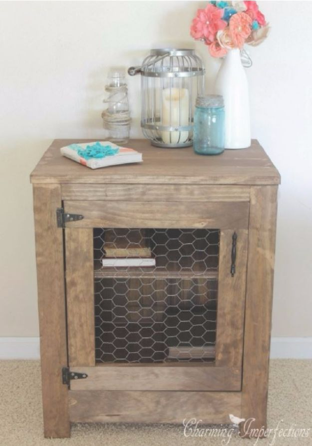 DIY Nightstands for the Bedroom - Farmhouse Chicken Wire Nightstand - Easy Do It Yourself Bedside Tables and Furniture Project Ideas - Thrift Store Makeovers For Your Room and Bed Side Night Stand - Storage for Books and Remotes, Cute Shabby Chic and Vintage Decor - Step by Step Tutorials and Instructions http://diyjoy.com/diy-nightstands-bedroom